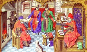 Medieval professors and their students