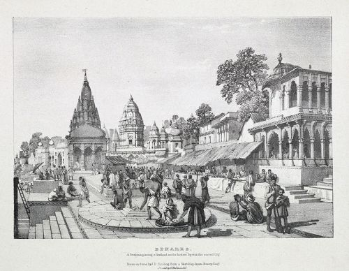 Benares 1832 A Brahmin placing a garland on the holiest spot in the sacred city