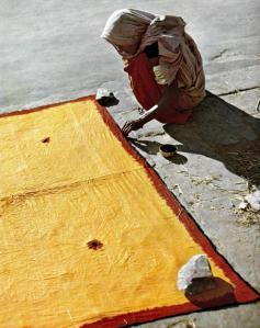 Woman coloring a sari