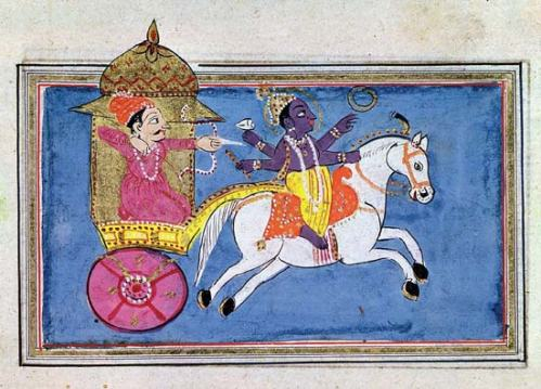 Krishna Pulling Arjuna of the Mahabarata 17th century