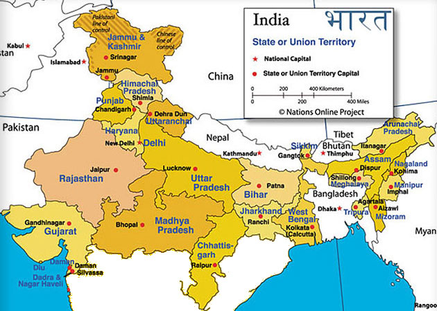 Image result for map of capitals of northern india