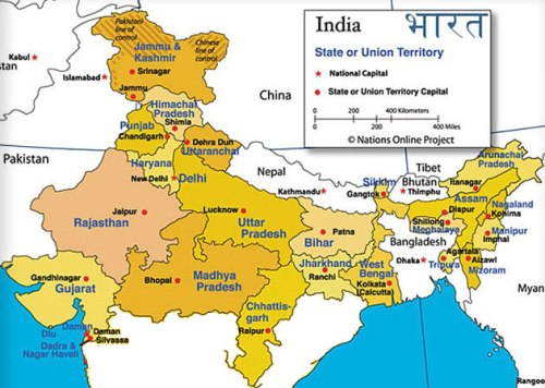map north india