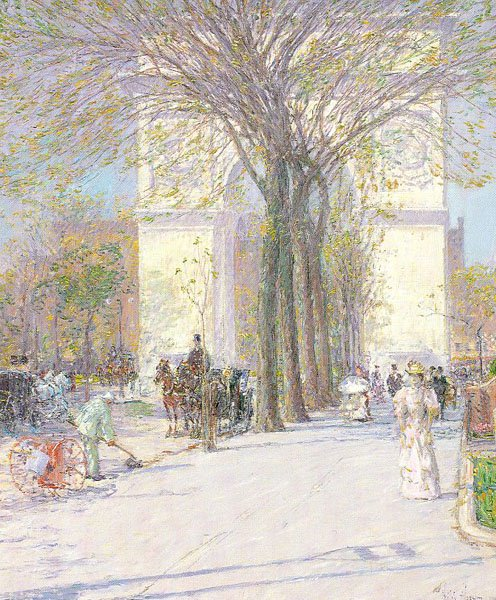 Childe Hassam, Washington Arch with elm trees, 1893