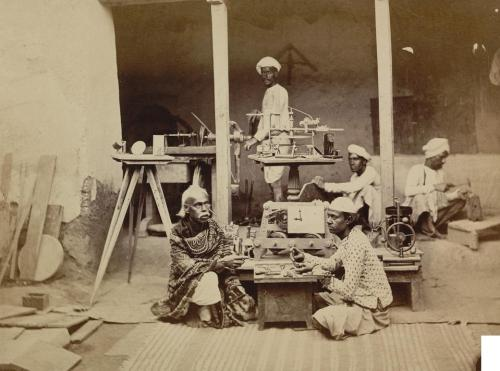 Benares watchmaker and mechanic to Maharaja in house training his son 1870