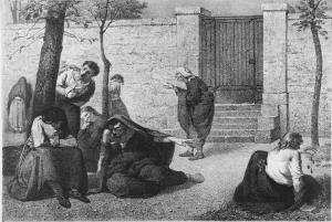 1857 lithograph by Armand Gautier, showing personifications of dementia, megalomania, acute mania, melancholia, idiocy, hallucination, erotomania and paralysis in the gardens of the Hospice de la Salpêtrière.