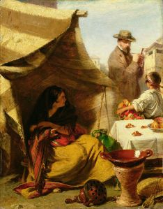 John Phillip, The Evil Eye (1859), a self-portrait depicting the artist sketching a Spanish gypsy who thinks she is being given the evil eye.